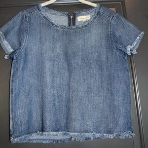 Cloth & Stone Denim Top with Frayed Edges